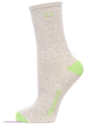 Носки спортивные 3 пары Unlimited. Цвет: серый меланж, салатовый
