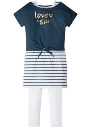 Футболка + платье легинсы (3 изд.) (темно-синий/белый/золотистый) bonprix. Цвет: темно-синий/белый/золотистый