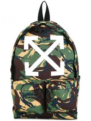 Рюкзак с камуфляжным принтом Off-White. Цвет: зелёный