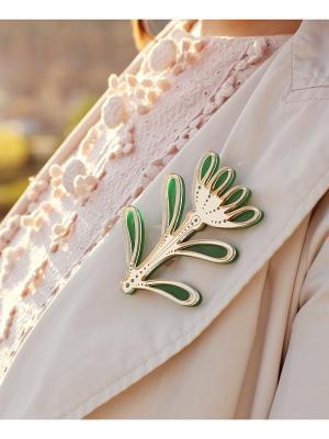 Брошь Цветок Золотой НечегоНадеть. Цвет: зеленый