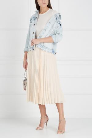 Плиссированная юбка Alice + Olivia. Цвет: слоновая кость