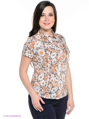 Блузка Finn Flare. Цвет: белый, коричневый, серо-коричневый