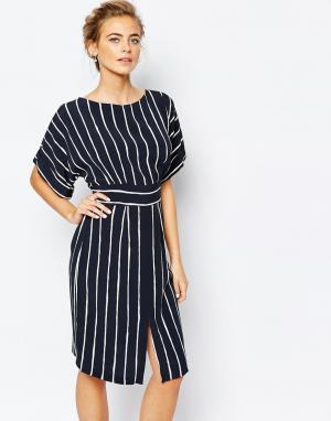 Closet London Платье миди с завязкой сзади и разрезом спереди. Цвет: черный