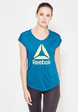 Футболка спортивная Reebok. Цвет: синий
