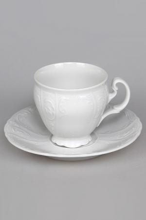 Чашка с блюдцем 140мм Bohemia. Цвет: белый
