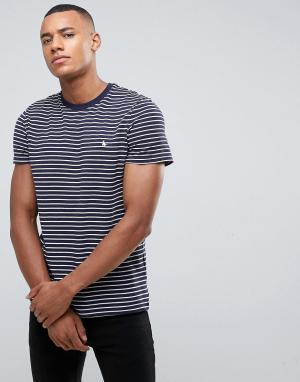 Jack Wills Темно-синяя футболка в бретонскую полоску из пике Clevedon. Цвет: темно-синий