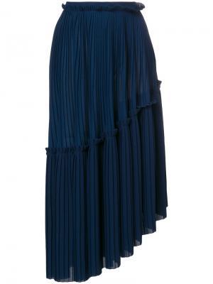 Асимметричная плиссированная юбка Kenzo. Цвет: синий