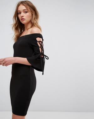 Parisian Облегающее платье с открытыми плечами. Цвет: черный