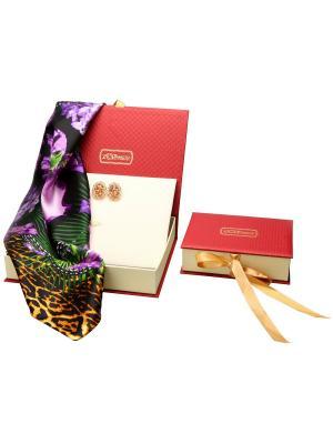 73018 Набор подарочный, Платок+серьги Venuse. Цвет: черный, фиолетовый