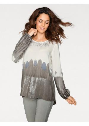 Блузка LINEA TESINI by Heine. Цвет: серо-коричневый