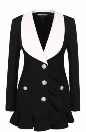 Приталенный шерстяной жакет с контрастными лацканами Alessandra Rich. Цвет: черный