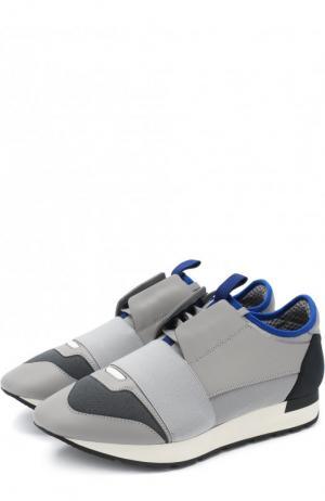 Комбинированные кроссовки Race с эластичной лентой Balenciaga. Цвет: светло-серый