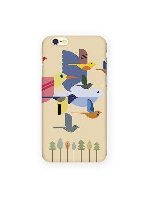 Чехол для IPhone 6 Птицы на желтом Mitya Veselkov. Цвет: бежевый, красный, голубой