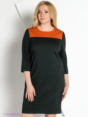 Платье КАЛIНКА. Цвет: темно-зеленый, оранжевый