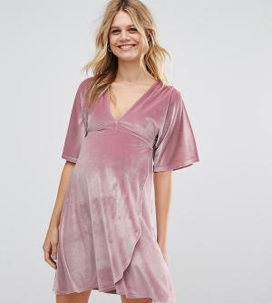 ASOS Maternity Бархатное платье мини для беременных с рукавами-кимоно. Цвет: розовый