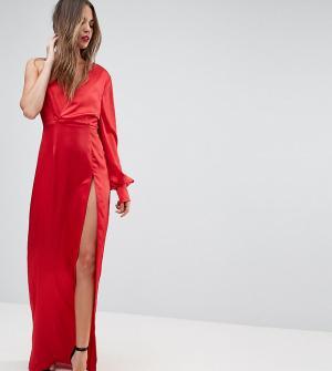 Taller Than Your Average Платье макси с одним рукавом и высоким боковым разрезом TTYA BLACK. Цвет: красный