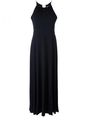 Длинное платье с золотистой деталью Michael Kors. Цвет: синий