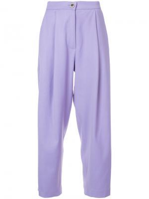 Широкие укороченные брюки Natasha Zinko. Цвет: розовый и фиолетовый