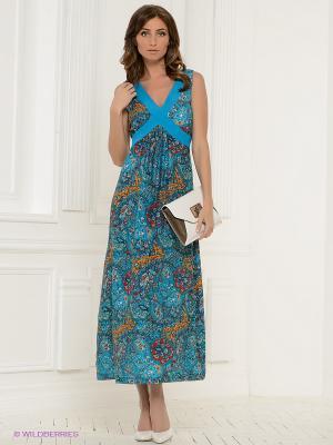 Платье Klimini. Цвет: лазурный, красный, оранжевый