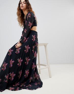 Zibi London Платье макси с цветочным принтом и вырезом Maxi. Цвет: мульти