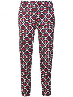 Узкие брюки с принтом Fay. Цвет: красный