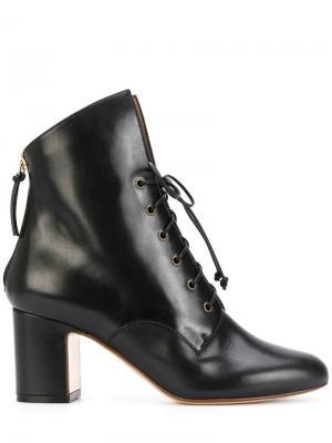 Ботильоны на каблуке со шнуровкой Francesco Russo. Цвет: чёрный
