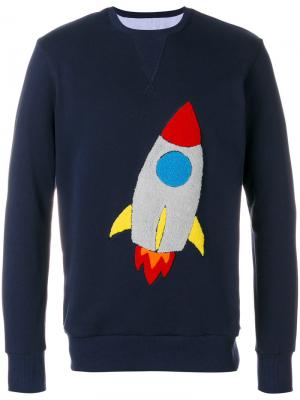 Толстовка с нашивкой в форме ракеты Lc23. Цвет: синий