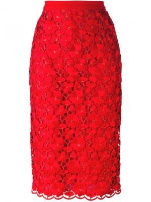 Юбка-карандаш с кружевом Piccione.Piccione. Цвет: красный