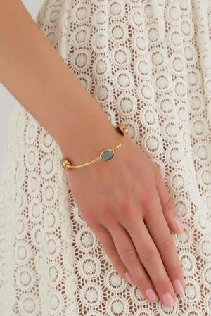 Браслет из латуни с лабрадоритом Sylvia Toledano. Цвет: золотой