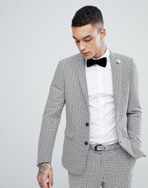 Devils Advocate Приталенный пиджак с зигзагообразным принтом. Цвет: белый