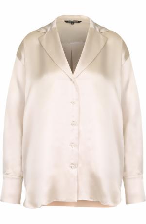 Шелковая блуза в пижамном стиле Tara Jarmon. Цвет: бежевый