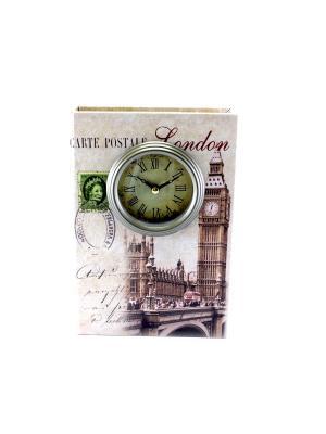 Шкатулка-фолиант с часами London essentic. Цвет: бежевый