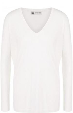 Пуловер свободного кроя из смеси кашемира и шелка Colombo. Цвет: белый