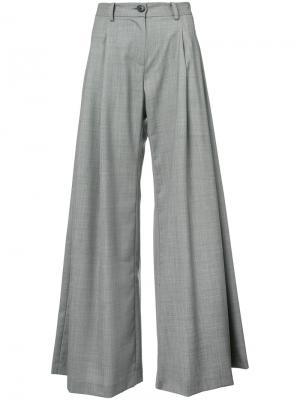 Широкие расклешенные брюки с завышенной талией Nili Lotan. Цвет: серый