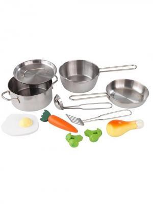 Набор игровой Игрушечная посуда, 11 элементов, из металла KidKraft. Цвет: серый