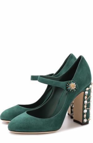 Замшевые туфли Vally на декорированном каблуке Dolce & Gabbana. Цвет: темно-зеленый