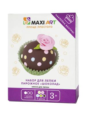 Набор для Лепки. Пирожное Шоколад (МА-0816-05) MAXITOYS. Цвет: бежевый, бледно-розовый, темно-коричневый, светло-зеленый, голубой