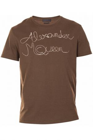 Футболка Alexander McQueen. Цвет: зеленый