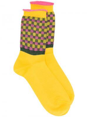 Носки в клетку Antonio Marras. Цвет: жёлтый и оранжевый