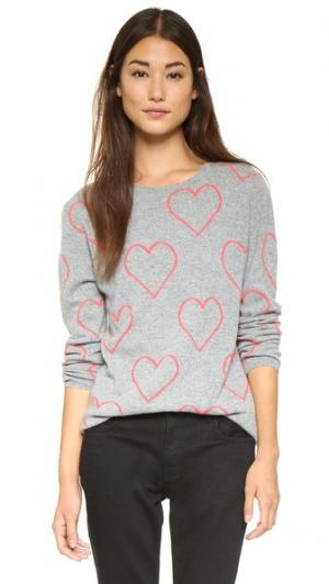 Свитер Allover Heart Chinti and Parker. Цвет: цвет серой глины/ярко-розовый