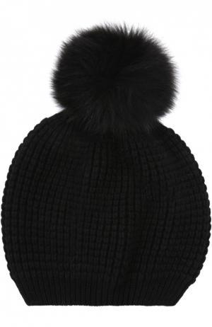 Кашемировая шапка с помпоном из меха енота Kashja` Cashmere. Цвет: черный