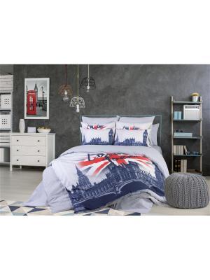 Комплект постельного белья Love Me Евро London Verossa. Цвет: синий, белый, красный, серый