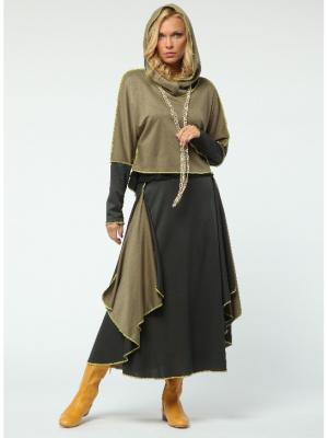 Костюм: юбка, джемпер KATA BINSKA. Цвет: серо-зеленый, бежевый