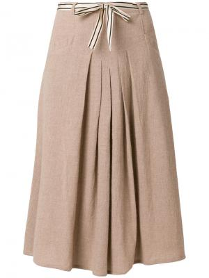 Плиссированная юбка с завязкой на бант Bellerose. Цвет: коричневый