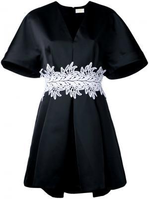 Платье с вышивкой на поясе Sara Battaglia. Цвет: чёрный
