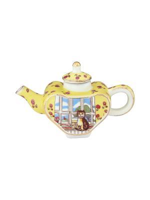 Сувенир-чайник Кошка у окошка Elan Gallery. Цвет: желтый, зеленый, коричневый