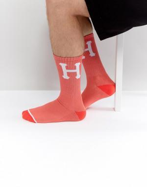HUF Носки с крупным логотипом. Цвет: розовый