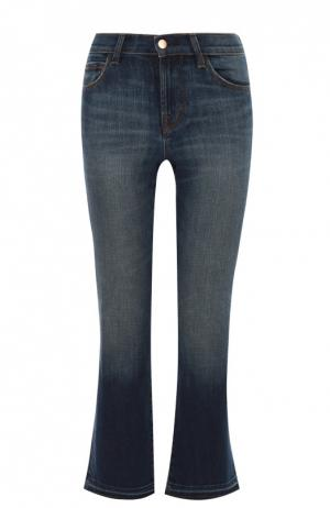 Укороченные расклешенные джинсы с бахромой J Brand. Цвет: синий