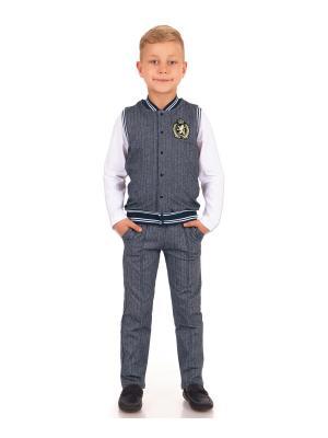 Комплект: брюки, жилет Первый звонок Апрель. Цвет: серо-голубой