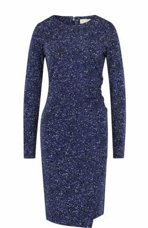 Приталенное мини-платье с длинным рукавом MICHAEL Kors. Цвет: синий